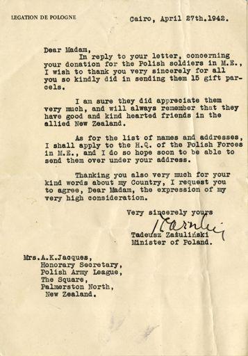 Polish Army League correspondence -