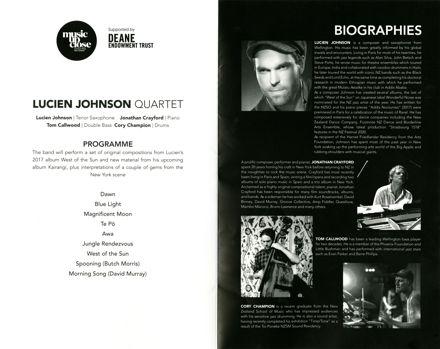 Programme - Lucien Johnson Quartet, Whanganui Opera House - 2