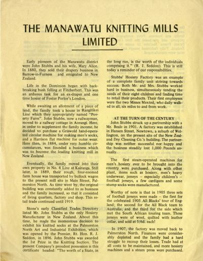 The Manawatu Knitting Mills Limited History