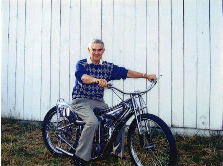 Maury McHugh on his speedway motorcycle