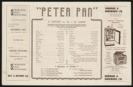 Peter Pan Programme, Palmerston North Opera House6