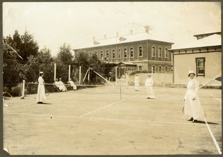 Nurses playing tennis at Palmerston North Hospital