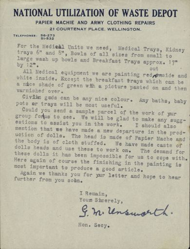 Correspondence: Letter from National Utilization of Waste Depot Papier Machie and Army Clothing Repairs Page 2