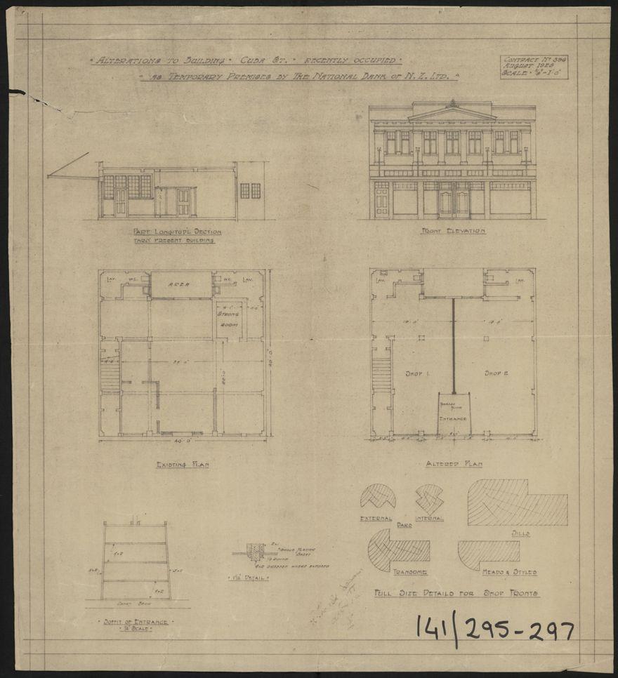 Architectural Plans for National Bank of New Zealand, Corner of Cuba Street & Rangitikei Street