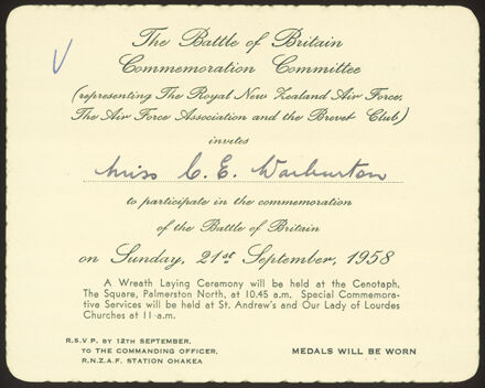 Commemoration of the Battle of Britain invitation