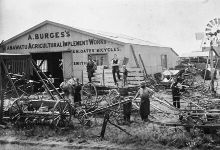 A Burges's Manawatu Agricultural Implement Works & N Oates' Bicycles