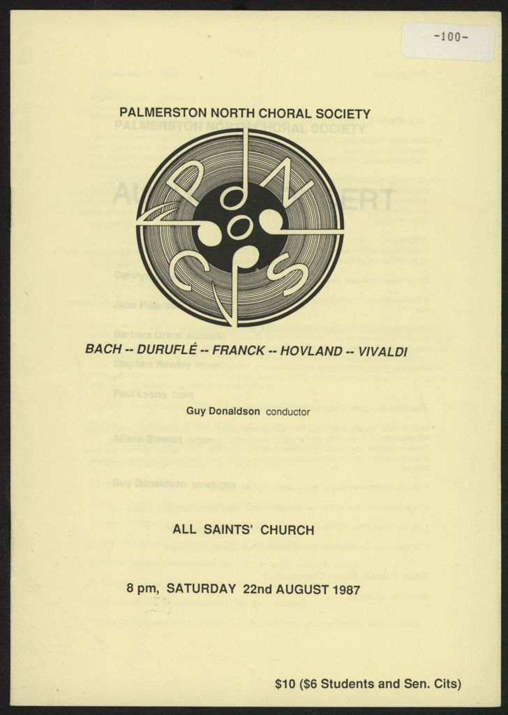 Palmerston North Choral Society concert programme