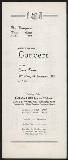 Wanganui Male Choir concert programme