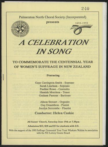 Palmerston North Choral Society - Women's Suffrage Centennial concert