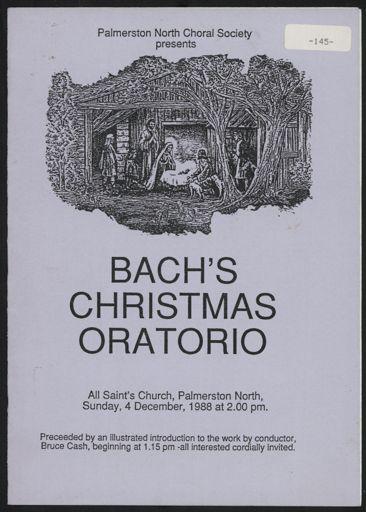 Palmerston North Choral Society - Bach's Christmas Oratorio programme