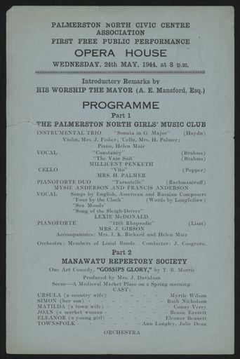 Palmerston North Civic Centre Association - concert programme