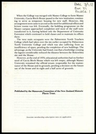 Booklet, Caccia Birch House 3