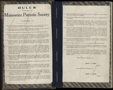 Manawatu Patriotic Society Minute Book (1916-1917)