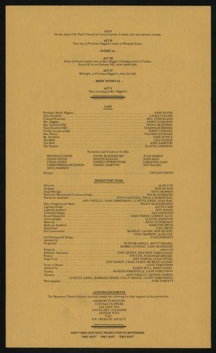Manawatu Theatre Society programme - reverse