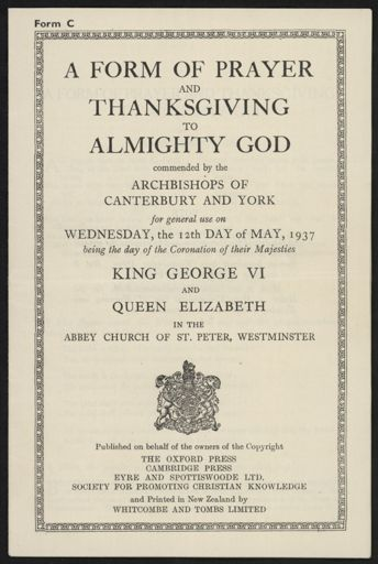 Coronation of King George VI and Queen Elizabeth - Order of Service