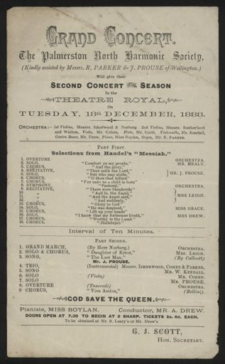 Palmerston North Harmonic Society - concert programme