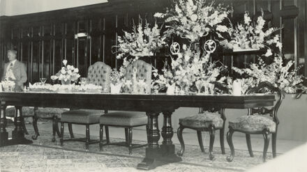Royal table setting for Queen Elizabeth II and the Duke of Edinburgh, at CMRoss Co. Ltd Tearooms