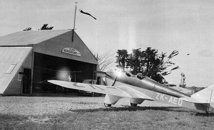 "Manawatu Aero Club's ""Miles Hawk"" aircraft, Milson Airport"