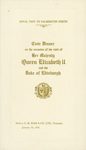 Menu for the Civic Dinner for Queen Elizabeth II and the Duke of Edinburgh