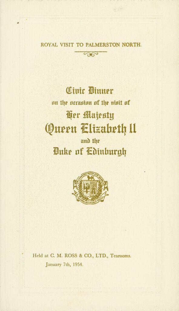 Menu for the Civic Dinner for Queen Elizabeth II and the Duke of Edinburgh