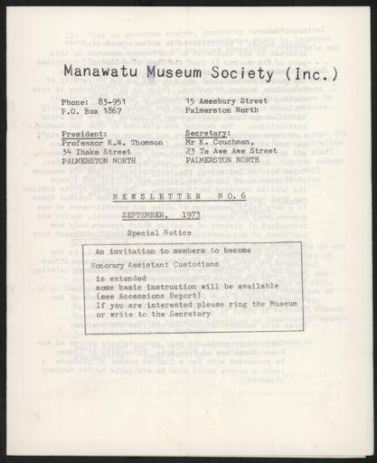 Manawatu Museum Society (Inc.) Newsletter No. 6