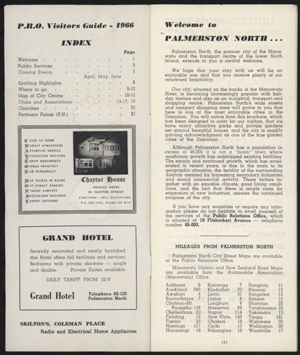 Visitors Guide Palmerston North: April-June 1966 - 2