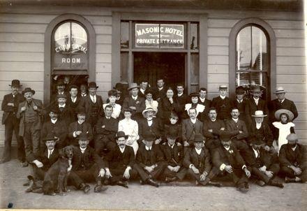 Group outside the Masonic Hotel