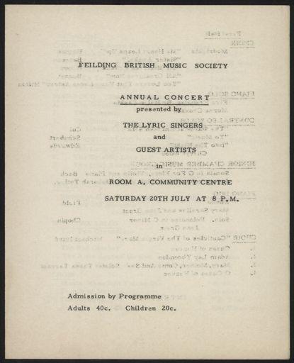Feilding British Music Society concert programme