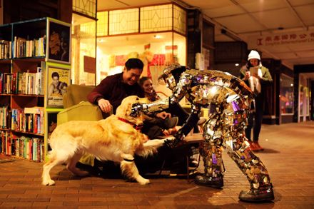 Golden Retriever and Silver Man meet on George Street, Winter Festival 2017