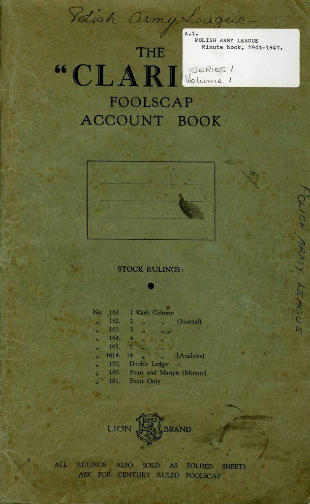 Polish Army League minute book
