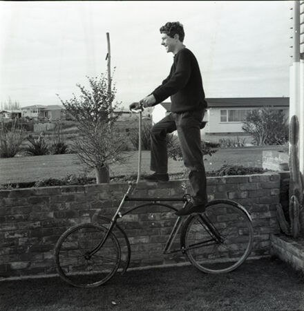 John Waldegrave with Homemade Bicycle