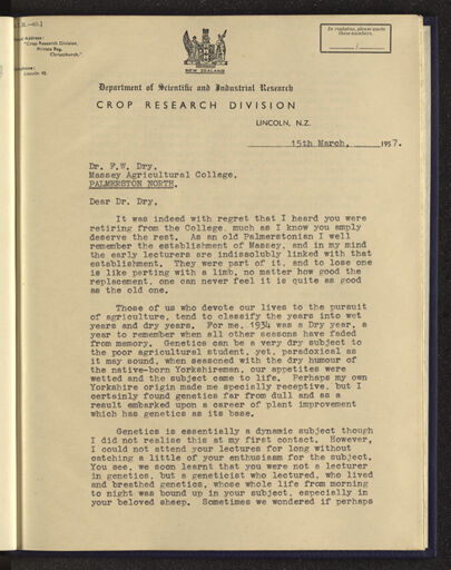 Page 1: Letter and poem written as a tribute to Dr F W Dry on his retirement from Massey Agricultural College