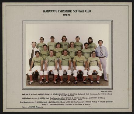 Manawatu Evergreen Softball Club 1975-1976
