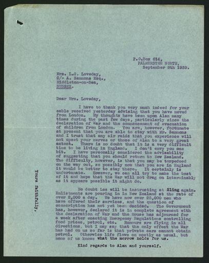 Letter to  Margaret Loveday