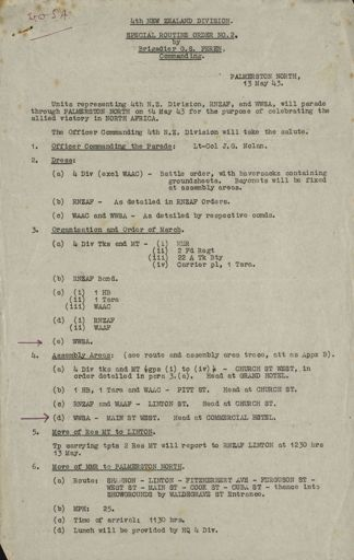 Instructions for parade to celebrate the allied victory in North Africa