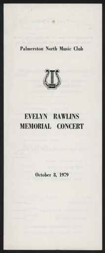 Evelyn Rawlins Memorial Concert programme