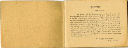 Wellington Infantry Regiment 1914-1918 booklet - 2