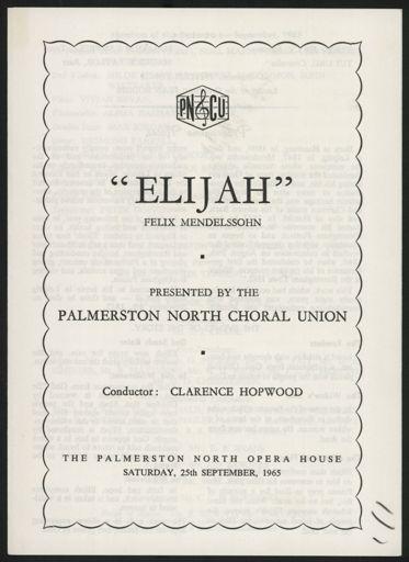 Palmerston North Choral Union - Elijah programe