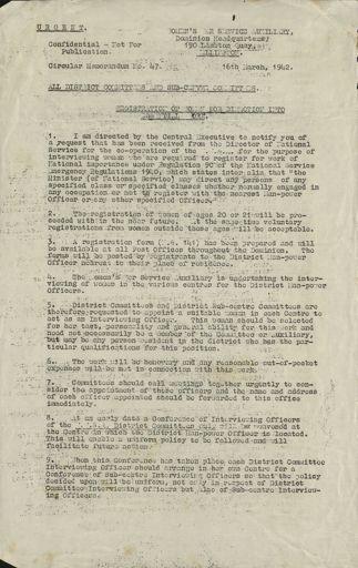 Women's War Service Auxiliary Memorandum No. 47