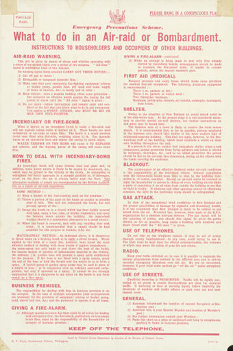 'What to do in an Air-Raid or Bombardment' leaflet