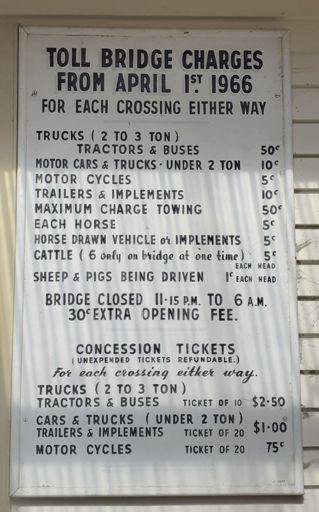 Opiki Toll Bridge Charges