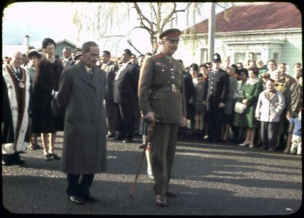 Sir Bernard Fergusson and John Mason Durie at Opening of Maori Battalion Hall