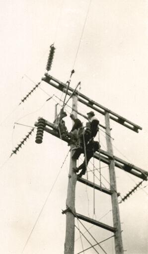 Workmen Repairing Power Line - Mangahao Electric Power Scheme