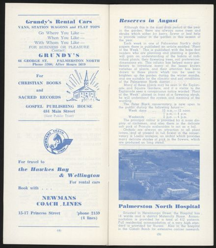 Visitors Guide Palmerston North and Feilding: August 1961 - 4