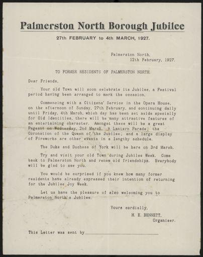 Letter regarding Palmerston North Borough jubilee