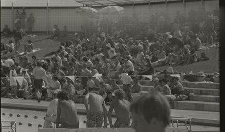 Swimmers and spectators at the Lido Pool