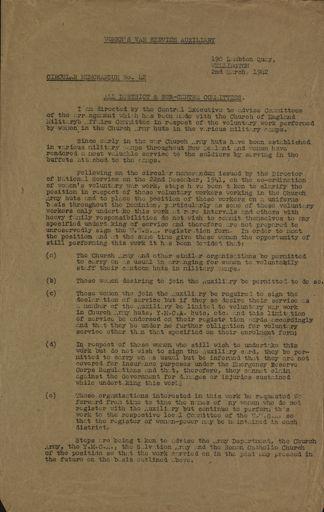 Women's War Service Auxiliary Memorandum No. 42