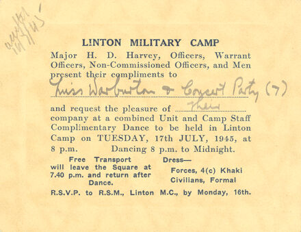 Linton Army Camp dance invitation