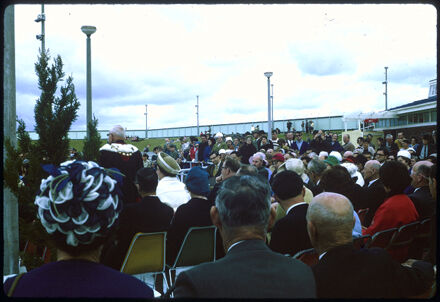 Mayor Gilbert Rennie Addresses Crowd - Opening of Lido Swimming Complex