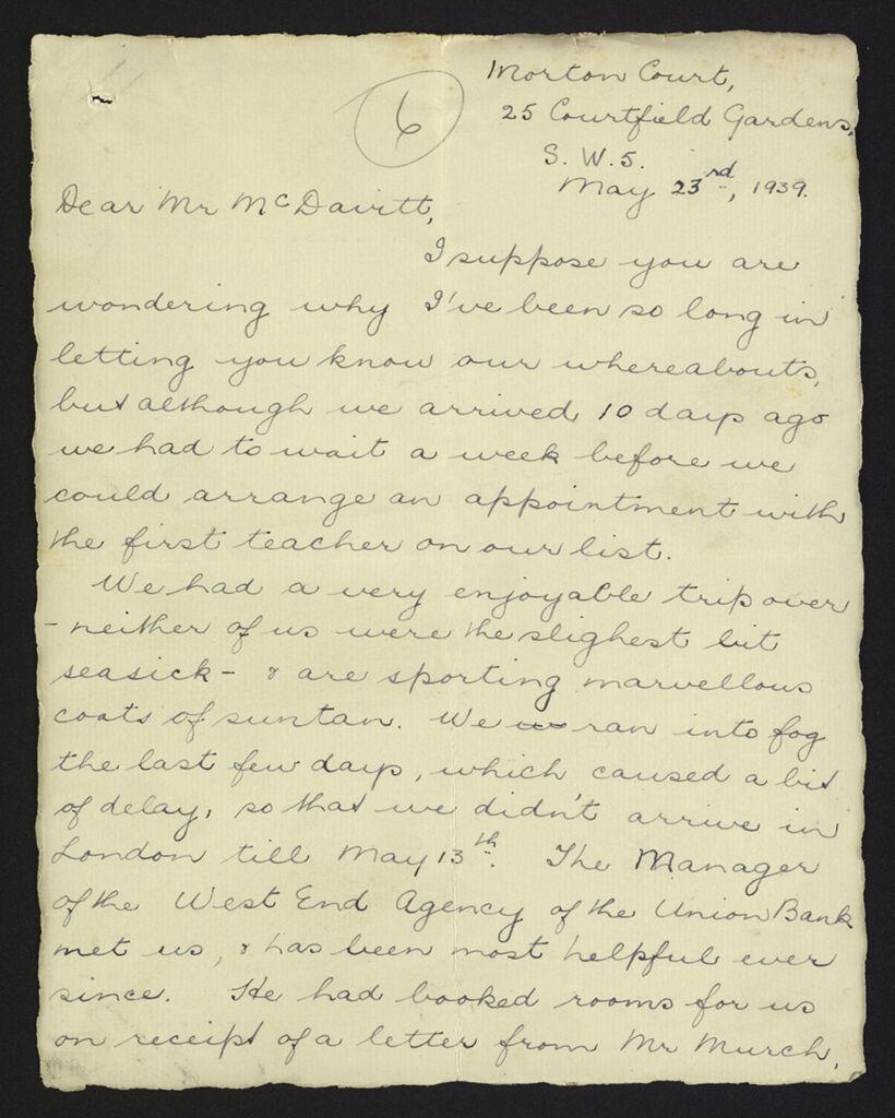 Letter from Mrs Loveday to Mr McDavitt